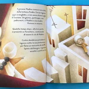 Aladino fiaba intagliata libro bambini