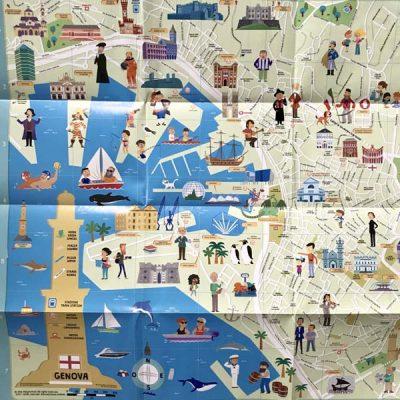 Mappa di Genova Illustrata. con Adesivi.