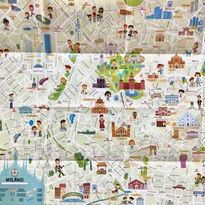Mappa di Milano con stickers - Italy For Kids