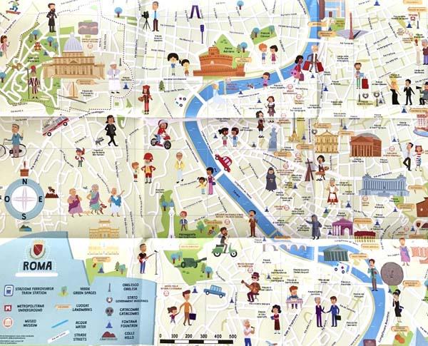 Roma Centro Cartina.Mappa Di Roma Con Stickers Libri Per Bambini Caramelle Di Carta It