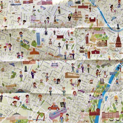 Mappa di Torino con stickers - Italy for Kids