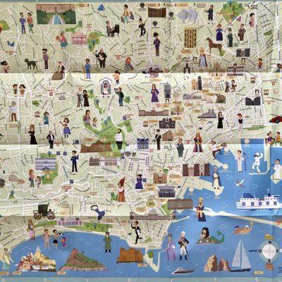 Mappa di Napoli con stickers - Italy for Kids