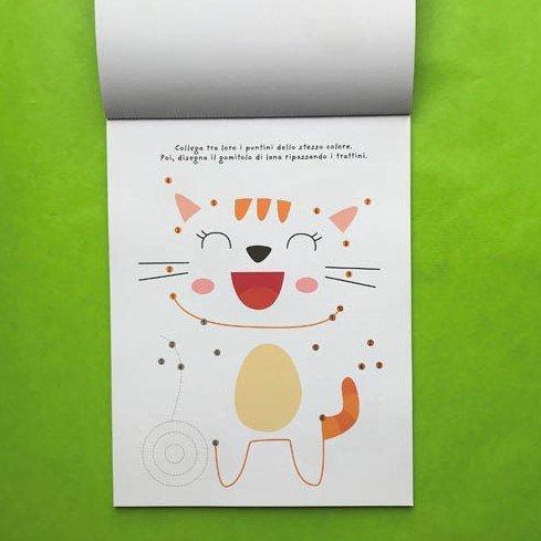 Collega i puntini gli animali libri bambini pregrafismo